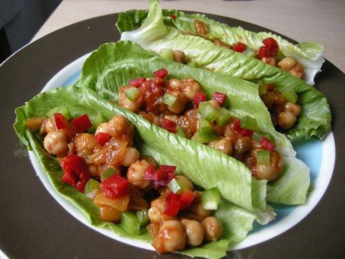 Salsa Chickpea Lettuce Wraps