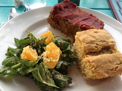 image of jalapeno cornbread, lentil meatloaf topped with marinara sauce, and side salad