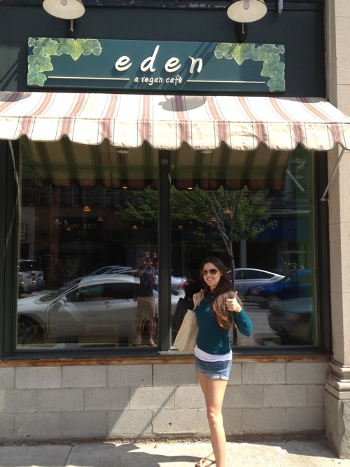 Lindsay standing in front of Eden A Vegan Cafe