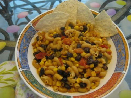 Fiesta Bake in bowl with chips on side