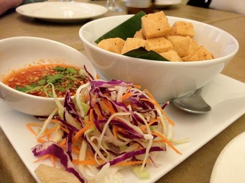 vegan fried tofu with thai soup