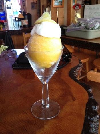 vegan lemon soretto in a wine glass