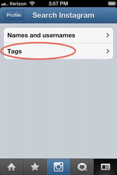 screen shot of how to search instagram