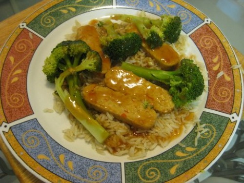 tempeh and broccoli over rice with vegan sweet and sour sauce