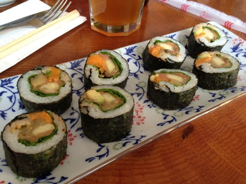vegan sushi with spinach