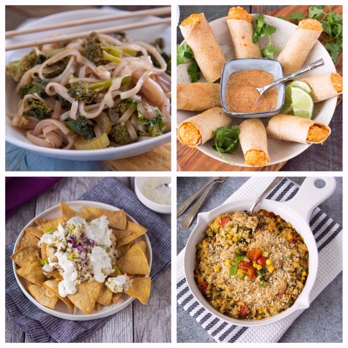 Indonesian Stir Fry (top left), Thai Taquitos (top right), Tuna Nachos (bottom left), Vegetable Rice Casserole (bottom right)